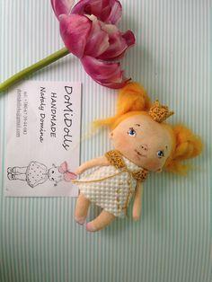 little Princess brooch,textile babydoll, brooch doll, doll accessories, rag doll, baby princess doll, textile doll by DoMiDolls on Etsy