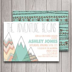 Adventure Baby Shower Invitation Digital by INVITEDbyAudriana