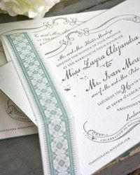 Zayra + Ivan's Vintage-Inspired Gray + Celadon Wedding Invitations