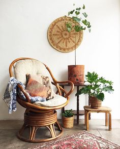 The rattan gods were smiling down on me  Rattan Chair w/ Cushion $385 Large 24in Wicker Circle SOLD Blue Navajo Throw SOLD Turkish…