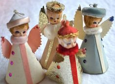 Vintage Christmas Ornaments - Composition Face Paper Angels Made in Japan - 4 Christmas Figurines, Vintage Christmas Ornaments, Retro Christmas, Vintage Holiday, Christmas Crafts, Christmas Decorations, Funny Christmas, Christmas Scenes, Christmas Past