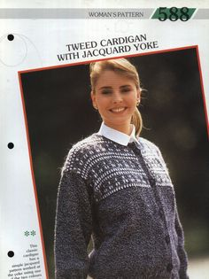 588 Creative Knitting Woman's Pattern 588 : Tweed Cardigan with Jacquard Yoke Pamphlet – 1986 Creative Knitting, Tweed, Chef Jackets, Colours, Classic, Pattern, Women, Fashion, Derby