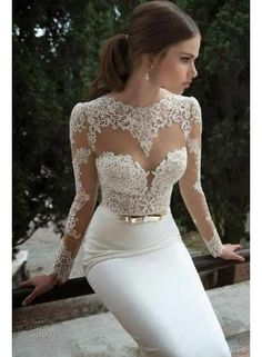USD$179.00 - White Lace Wedding Dresses Vestidos De Noiva 2015 Sexy Long Sleeves Sheer Mermaid Satin Golden Band Bridal Gowns - www.buygoodress.com