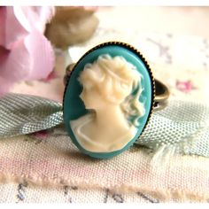 Teal Cameo Ring ($10) ❤ liked on Polyvore