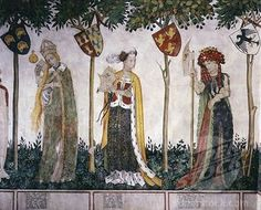 14th-15th century fresco International Gothic, Baronial Hall, Castle of the Princes of Saluzzo