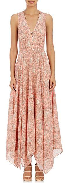 Clemmie maxi dress-pink by Altuzarra. Altuzarra pink and ecru paisley silk crêpe de Chine Clemmie maxi dress trimmed with satin tape. V-neck and V'd back, ...