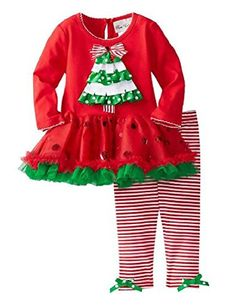 2pcs Kids Girls Christmas Tree Ruffle Bow Tutu Skirt Tops Pants Outfits (2-3Years, red) ** Want to know more, visit
