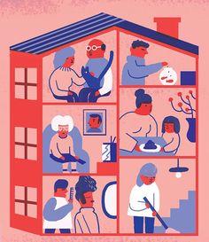 Cinta Arribas representa una peculiar comunidad de vecinos para el artículo 'El edificio que se parece a España', de Mariangela Paone sobre las elecciones generales del 20-D, en El Español.