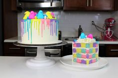The Ultimate Checkerboard Peeps Cake! Complete with matching drips and peeps!! Perfect for Easter