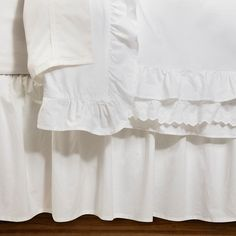 • 100% cotton poplin construction <br>• Embroidered details<br>• Ruffled edges<br>• Hidden button closure<br>• Machine washable for easy care<br><br>Simple elegance describes the Simply Shabby Chic Petticoat Duvet and Sham Set in White. This soft cotton set boasts embroidery and thick ruffles that will turn your bedroom into a beautiful retreat.