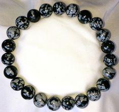 Natur Schneeflocke Obsidian Heilstein Perlen Armband