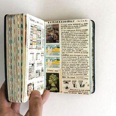 Jose Naranja's Notebooks Are Well-Traveled, Personal Artworks - Tagebuch schreiben - Travel Journal Art Journal Pages, Album Journal, Travel Journal Pages, Bullet Journal Ideas Pages, Scrapbook Journal, Journal Notebook, Sketch Journal, Art Journaling, Travel Journals