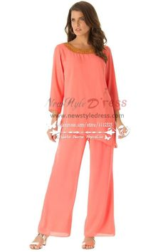 Watermelon red cozy chiffon mother of the birde pant suits dresses with three quarter sleeve - Mother Of The Bride Pantsuits Cocktail Dresses Online, Evening Dresses Online, Evening Dresses Plus Size, Cheap Evening Dresses, Womens Cocktail Dresses, Dress Online, Evening Gowns, Mother Of The Bride Plus Size, Mother Of The Bride Suits
