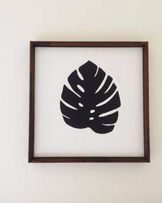 Hand painted Monstera leaf on Canvas by BaysidePlantsDecor on Etsy