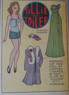 Tillie the Toiler with Uncut Paper Doll from 12 24 1939 Full Size Page Newspaper Paper, Paper Dolls Printable, Doll Parts, Vintage Paper Dolls, Retro Toys, Play, Vintage Ads, Beautiful Dolls, Doll Toys