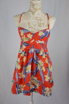 Hollister Womens Large Red Blue White Floral Spaghetti Strap Dress Short Summer #Hollister #EmpireWaist #Casual