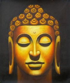 """Wall Art finished in USAHistory: Bronze Buddha is a hand finished canvas oil painting. """"Thousands of candles can be lighted from a single candle, and the life o"""