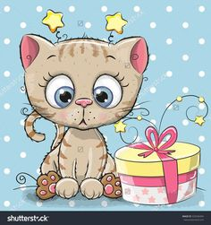 Greeting card cute Kitten with gift on a blue background