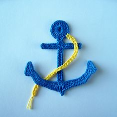 """Anchor Applique / about 2-3/4"""" / made in 4 pcs. / cotton thread / CROCHET pattern for purchase"""