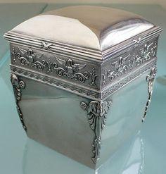 Art Nouveau Silver Tea Caddy by Faberge Vintage Tea, Vintage Silver, Antique Silver, Art Nouveau, Sacs Design, Tea Caddy, Tea Art, Tea Service, Glass Art