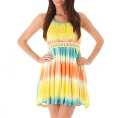 Crochet Trim Tie-Dye Dress