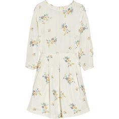 Band of Outsiders Floral-print silk-habotai dress ($187) ❤ liked on Polyvore featuring dresses, vestidos, short dresses, band of outsiders, floral dress, floral mini dress, short floral dresses, mini dress and loose dress