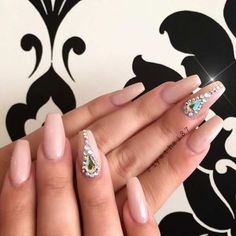 Neutral Coffin Nails with Rhinestone Accent Nail