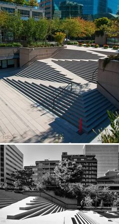 Brilliant ramp-in-staircase at Robson Square, Vancouver, Canada by Architect Arthur Erickson and Landscape Designer Cornelia Oberlander. Landscape Stairs, Urban Landscape, Landscape Design, Architecture Cool, Landscape Architecture, Ramp Stairs, Outdoor Stairs, Staircase Design, Urban Planning
