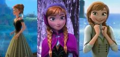 Frozen~Annas outfits, Coronation, winter, and end of the movie.