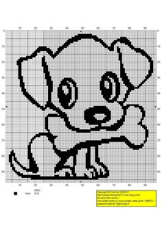 chien - dog - broderie - cross stitch- Chiot et os - Point de croix - Blog : http://broderiemimie44.canalblog.com/