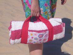 made by sónia: Suporte toalha de praia com bolsa - Holder beach towel with pocket - Tutorial