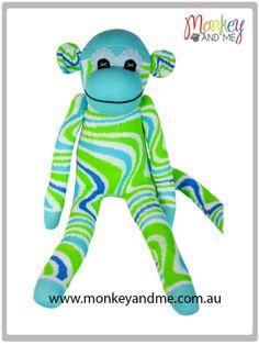 Aqua Green swirl Sock Monkey  Adopt over at monkeyandme.com.au #sockmonkeys #gifts #toys