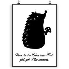 Poster DIN A4 Igel mit Pilz aus Papier 160 Gramm