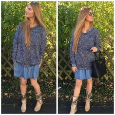 Blue tricot sweater + beige Tricot boots = perfect match!!