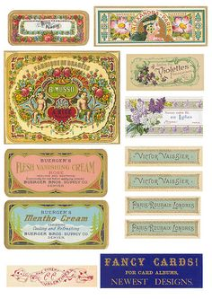 Vintage Soap Labels II (will need resizing) Vintage Tags, Vintage Labels, Vintage Ephemera, Vintage Prints, Soap Labels, Soap Packaging, Carton Invitation, Printable Labels, Home Made Soap
