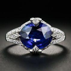 Jewelry Diamond : 4.05 Carat Sapphire Platinum and Diamond Ring  30-1-5287  Lang Antiques