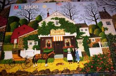 "1000 Pieces -- ""Birdie's Perch Coffee Shop"" -- Art by Charles Wysocki (Charles Wysocki's Americana); Puzzle by Milton Bradley (4679-3); Copyright 1992; Completed size: 22-9/32"" x 26-3/16""; Purchased at Deseret Industries in Provo for $1.50 on 9 Dec 2014"