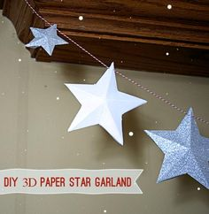 Make DIY Paper Star Garland for your Holiday Decor Diy Christmas Star, Holiday Crafts, Christmas Holidays, Christmas Decorations, Holiday Decor, Xmas, 3d Paper Star, Paper Stars, Star Diy