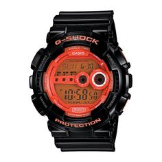 Montre Casio G-Shock pour homme et femme, couleur noir et orange, chronomètre, alarme, étanchéité 200 mètres et petit prix.