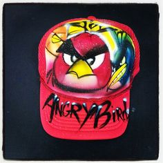 Angry birds Airbrush Hat  Snapback angry bird by Airbrushmonsters, $20.00