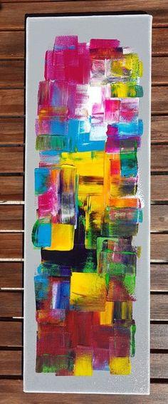 Tableau abstrait peinture contemporain coloré fond - Peinture, 20x60x1,7 ©2017 par Sandrine Hartmann - coloré, abstrait, contemporain, vertical, horizontal