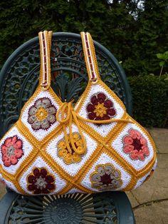 Ganchillo Flor Africana de la bolsa granny crochet cuadrados