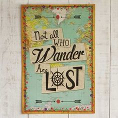 "Not All Who Wander Natural Life Art Print - Deck out your digs with our super-cute custom art prints! Made of premium heavyweight paper, these posters will look as good framed in the office as they will ticky-tacked to a dorm-room wall. Perfect for the world traveler, this art print features a stylized world map, compass, and  ""Not All Who Wander Are Lost"" over a newsprint background. Comes backed by cardboard and cello-wrapped."
