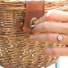 Julianna Vintage Cluster Engagement Ring with Ruby Halo