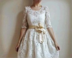 Cotton and Lace Wedding Dress with Sleeves