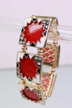 Square Shape Elastic Bracelet with Metal Zig Zag Outline  $9.80 CAD  www.fashionrehab.ca