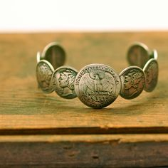 Liberty Bracelet by Mark Kaplan-- old silver US coins. Handcrafted by the gentleman that made my husband's wedding band.