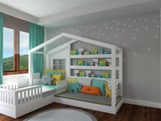 Our popular BIGA bed fills the room with its house shaped design. The bed can be removed and it becomes a playhouse with a couch and book shelves !