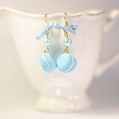 "Earrings with polymer clay ""Macarons"" LIGHT BLUE"