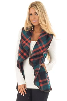 Lime Lush Boutique - Teal and Rust Orange Plaid Vest with Faux Leather Trim, $39.99 (https://www.limelush.com/teal-and-rust-orange-plaid-vest-with-faux-leather-trim/)